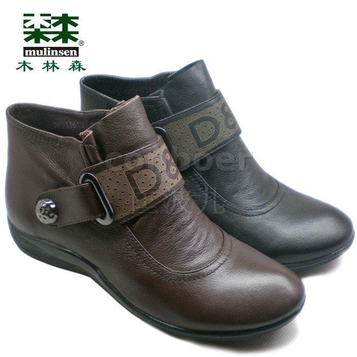 五钻2011正品木林森女鞋牛皮平跟休闲鞋及踝靴休闲短靴子GW031612