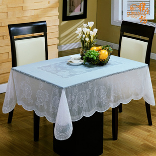 Elegant square white waterproof PVC tablecloth tablecloth garden coffee table coffee table cloth tablecloth