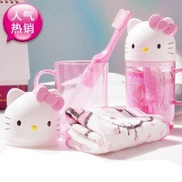 hello kitty卡通旅行套装 洗漱用品 便携式水杯+牙刷+毛巾三件套