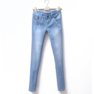 2012 new wild light washed skinny skinny cat small cylindrical jeans women's trousers WK1074