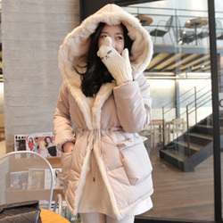 korean style oversized fur collar coat jacket hooded cotton jacket cotton coat long coat