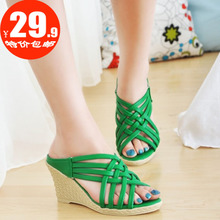 2013 Summer Clearance hollow sweet sandals Rome shoes slope with high-heeled fish head sandals, Bohemian
