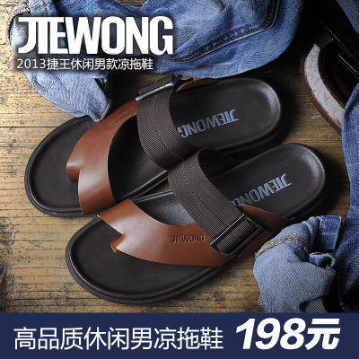 Wang Jie breaking yards clearance summer business casual leather slippers for men slippers summer influx of cool and comfortable