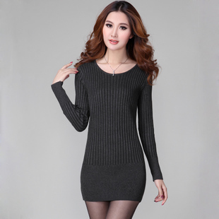 Slim skinny post 2013 spring Korean sweater women's clothing long base sweater low neck sweatshirts