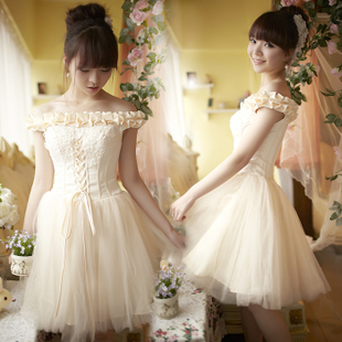 Luxurious 2012 new style super sweet one shoulder/Sling bridesmaid dress suit Princess Korean small dress