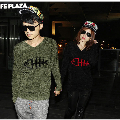 2014 winter new Korean version of casual fashion lovers personalized long-sleeved knit sweater stuffed shirt Slim male tide