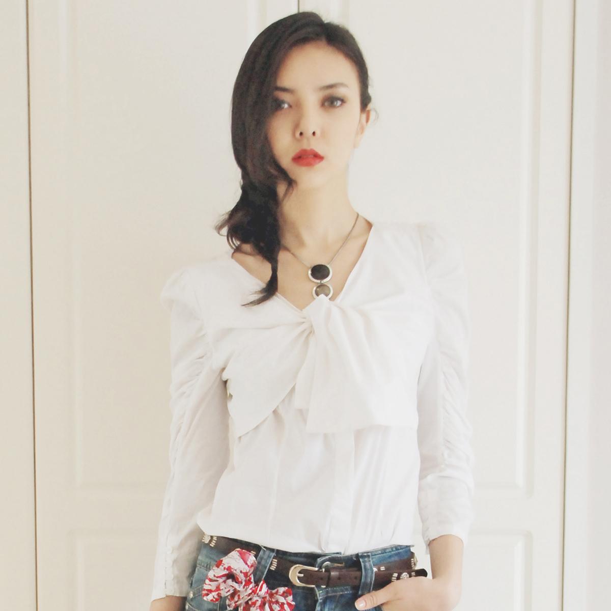 женская рубашка MATCHE mk111045 Длинный рукав Однотонный цвет Осень 2012 V-образный вырез