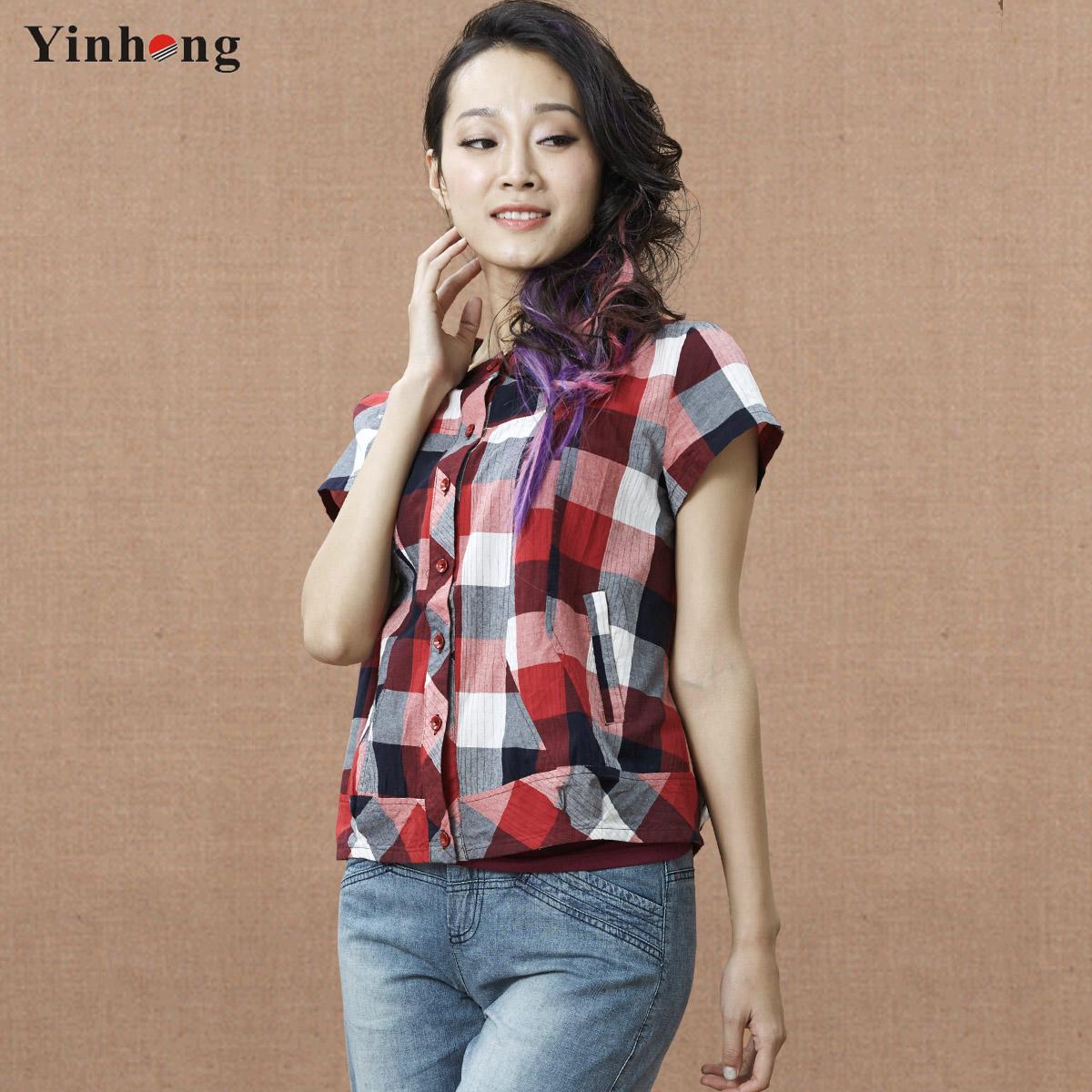 尹红衬衫女2014新款夏装女装 纯棉格子短袖翻领短款衬衣 短外套女