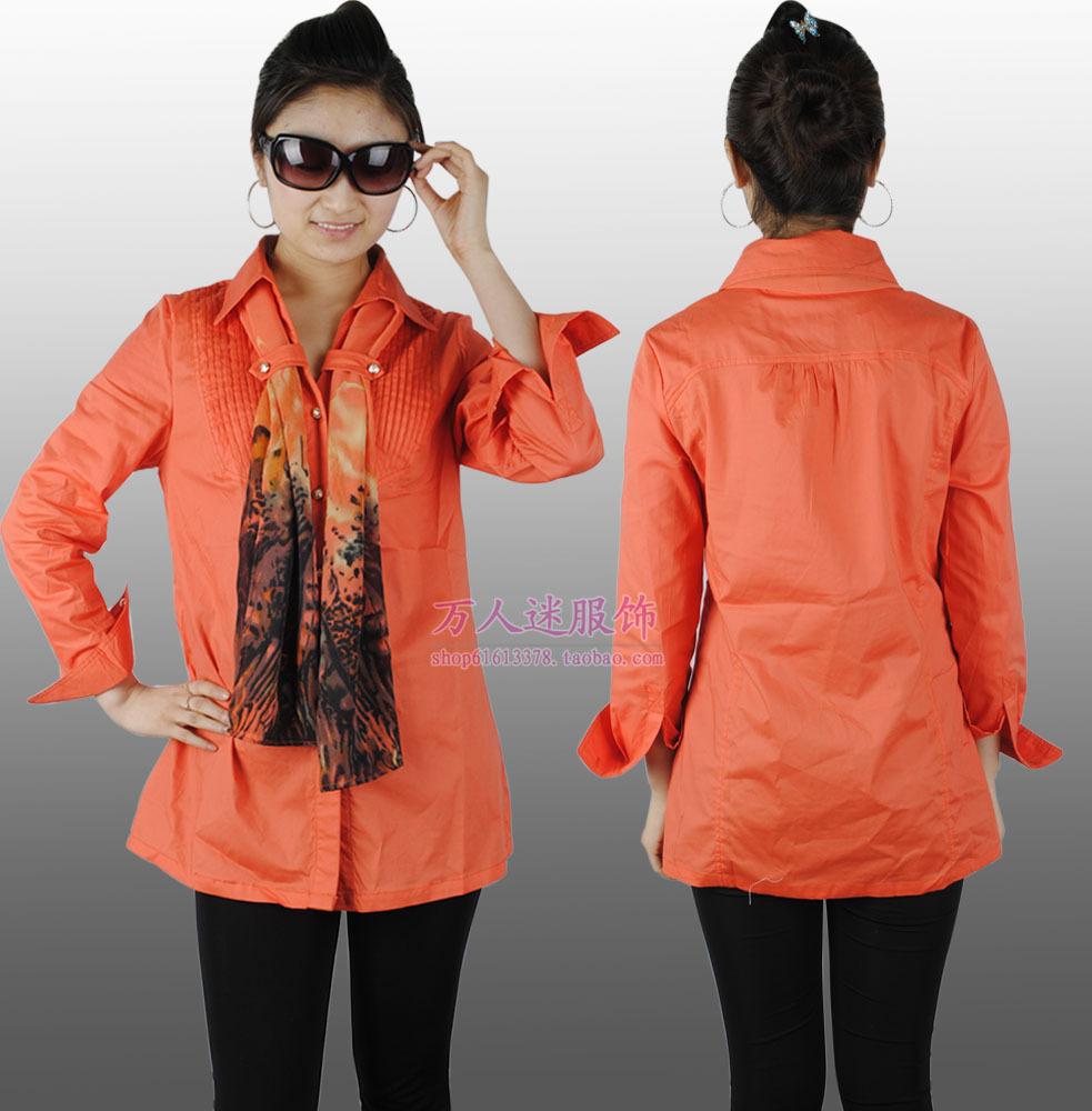 женская рубашка Моды Европы и ветер длинная рубашка и соответствующие шарф жира рубашку XL рубашка длинный плащ Городской стиль Длинный рукав Однотонный цвет