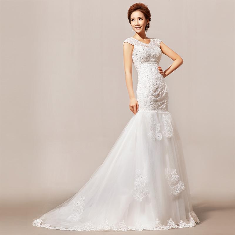 2013 新款新娘婚纱 天使蕾丝 亮片小拖尾 时尚优雅婚纱礼服HS136