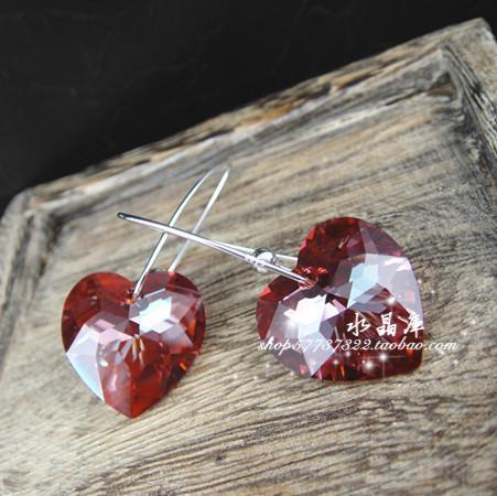 奥地利水晶爱心形红色耳环 925纯银韩版时尚潮人个性女款耳坠饰品