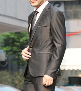 新款韩版西服修身男装西服亮面男士修身西服套装新郎礼服西装套装