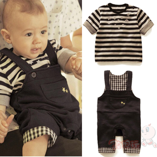 2012 Summer for children parents mounted men and baby overalls new cotton stripe two piece suit