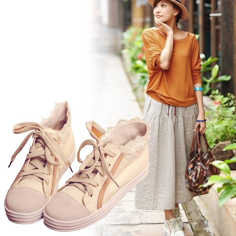 Круглый носок Плоская подошва Шнурок Плоская подошва Клееная обувь Шнуровка, Соединение разных цветов Однотонный цвет