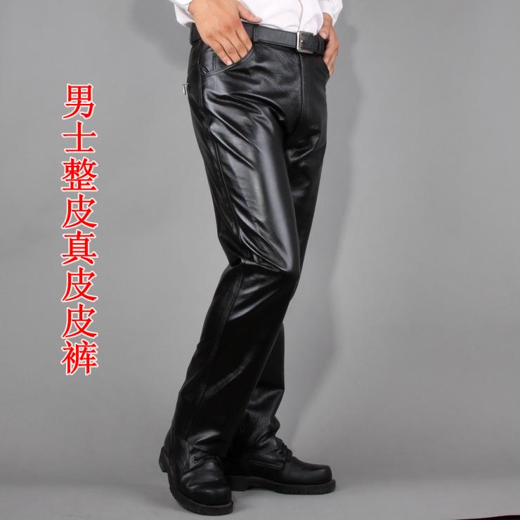 新款 海寧真皮皮褲 男士真皮皮褲 長褲豬皮褲子保暖整皮褲子圖片
