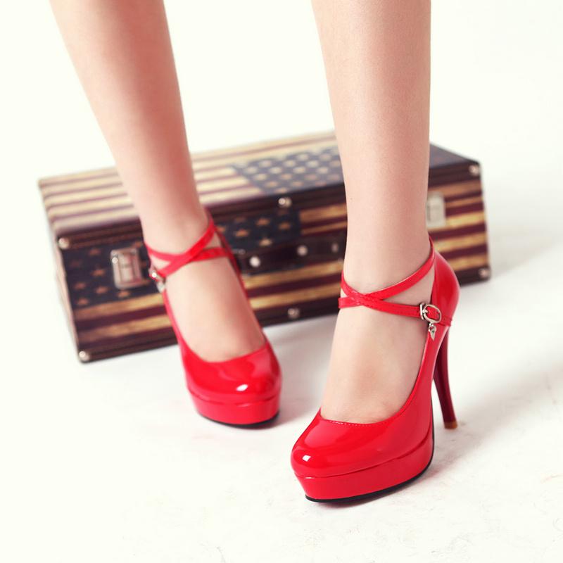 2013新款婚纱鞋结婚鞋子新娘鞋搭扣带女鞋单鞋防水台红色高跟鞋