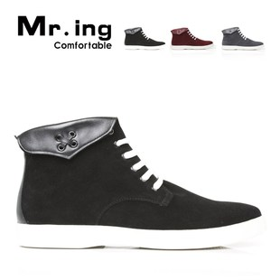 Mr.ing pig leather and cashmere high boots UK in spring wind fashion casual work boots F6591