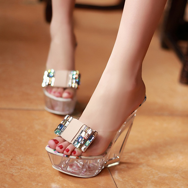 Europe and America 2014 summer new transparent glass slipper slope with high-heeled shoes sandals slippers shoes dragging word