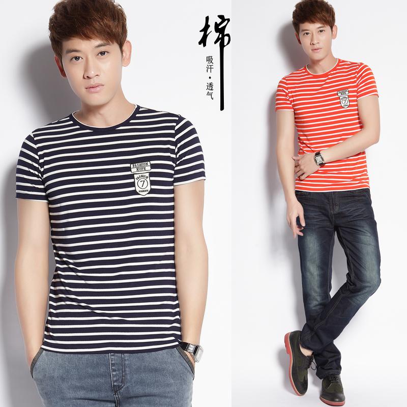 Футболка мужская Лето 2014 новых полосатый стрейч короткие мужчины с коротким рукавом Футболка в корейской версии тенденция self случайные t рубашку мужчин