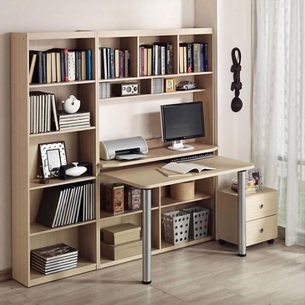 【畅销预售】环保宜家简洁台式桌书柜转角电脑桌 组合书桌写字台