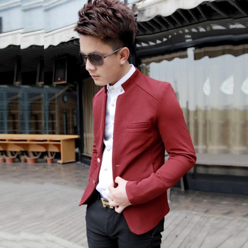 14新款男士小西装韩版修身立领红色西装英伦男装薄外套时尚西服男