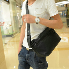 The new men's bags Men's imitation leather shoulder bag Man inclined urban leisure bag bag middle school students