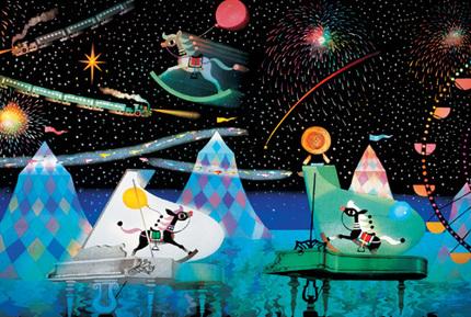 日本APPLEONE夜光进口拼图 星空木马(藤城清治)1000片 儿童节礼品
