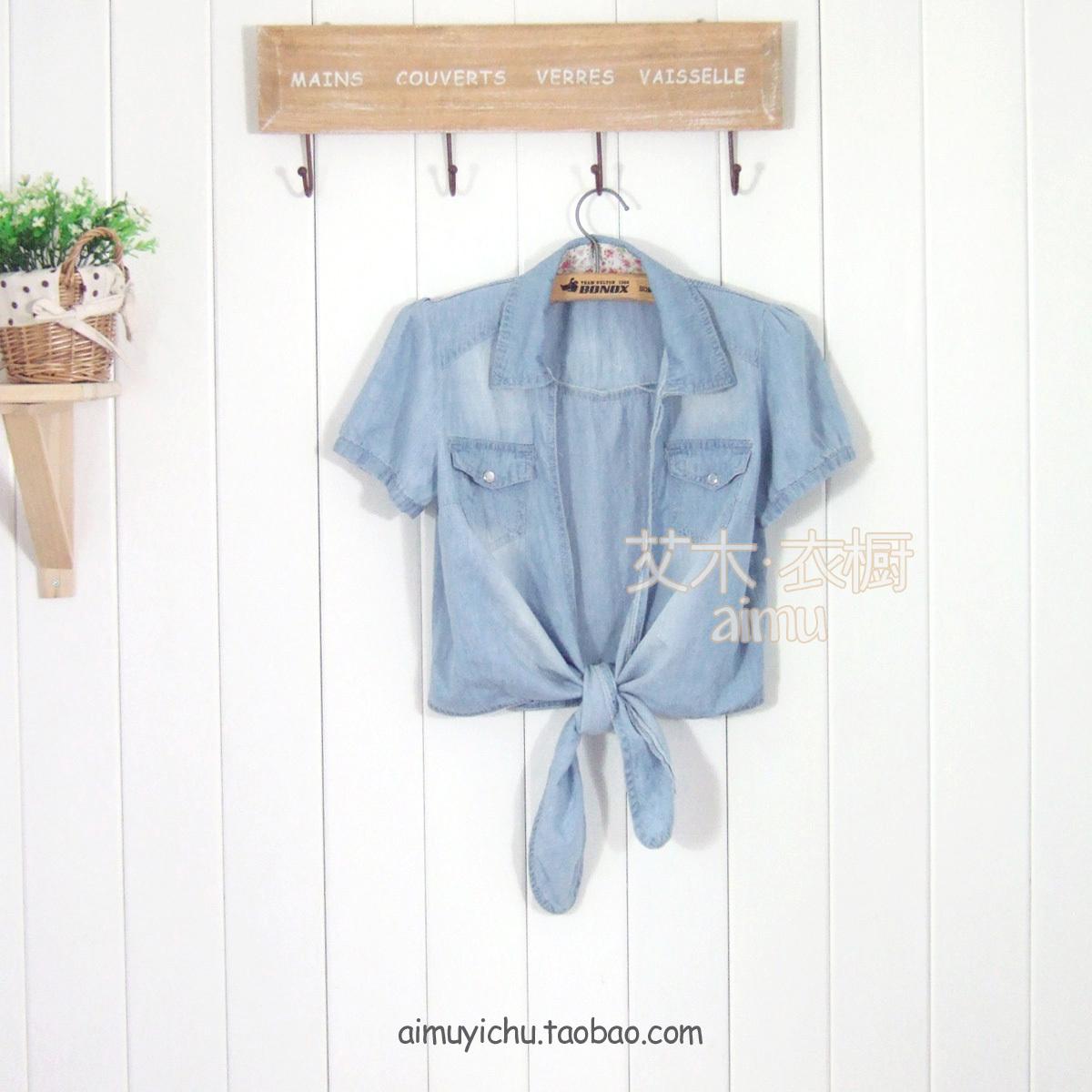 женская рубашка Летних японских Виви Мина связали с тонкие короткие джинсовые рубашки рубашки женщин Милый Короткий рукав Однотонный цвет