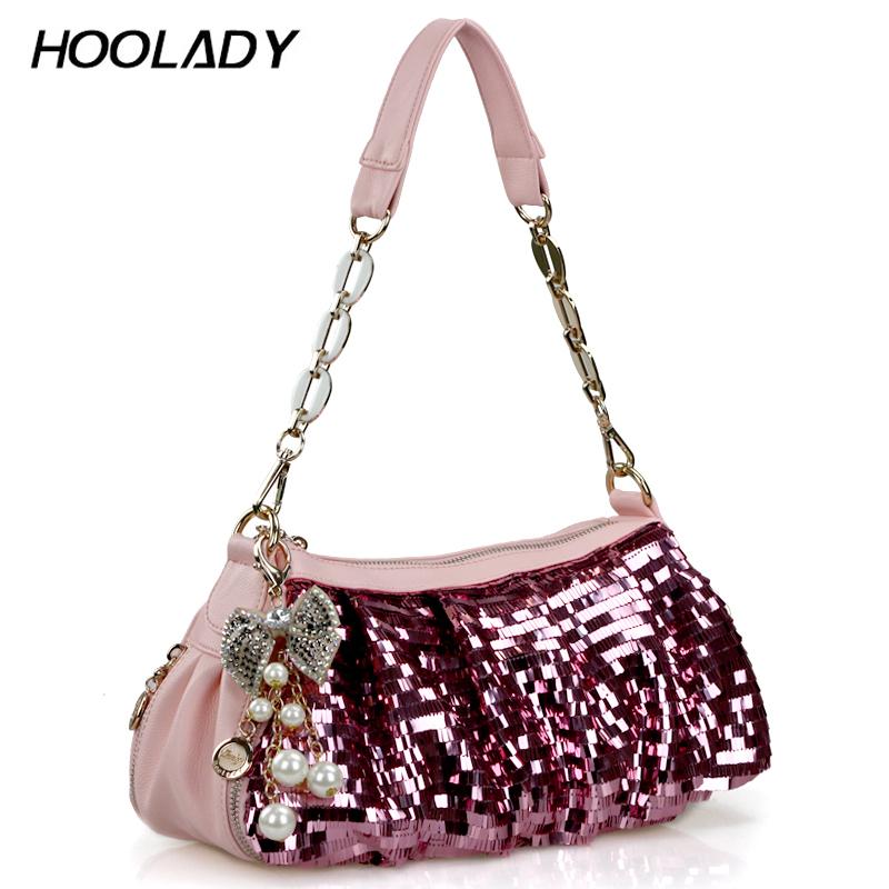 HOOLADY 2012夏季新款 韩版蝴蝶结链条亮片包包女包H12001