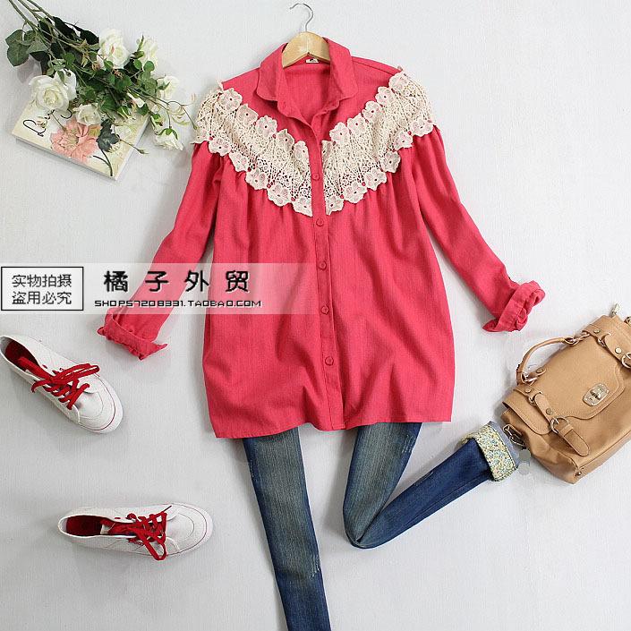 женская рубашка 2012 Весна новых продуктов японских старинные цветочные рубашка хлопок качество кружева сладкий полой куклы рубашка Повседневный стиль Длинный рукав Однотонный цвет Оборка