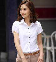白衬衫女短袖2016夏季韩版修身特大码胖mm泡泡荷叶袖学生职业装ol
