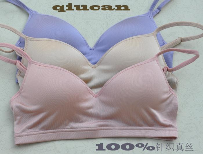 新款 新款正品100%真丝针织蚕丝胸罩薄款运动无钢圈文胸舒适内衣