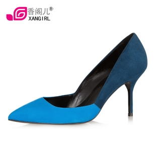 [Cat new fashion] Xiang GE in Europe and America spell pointed high heel shoes real leather Sheepskin danxie 23,056