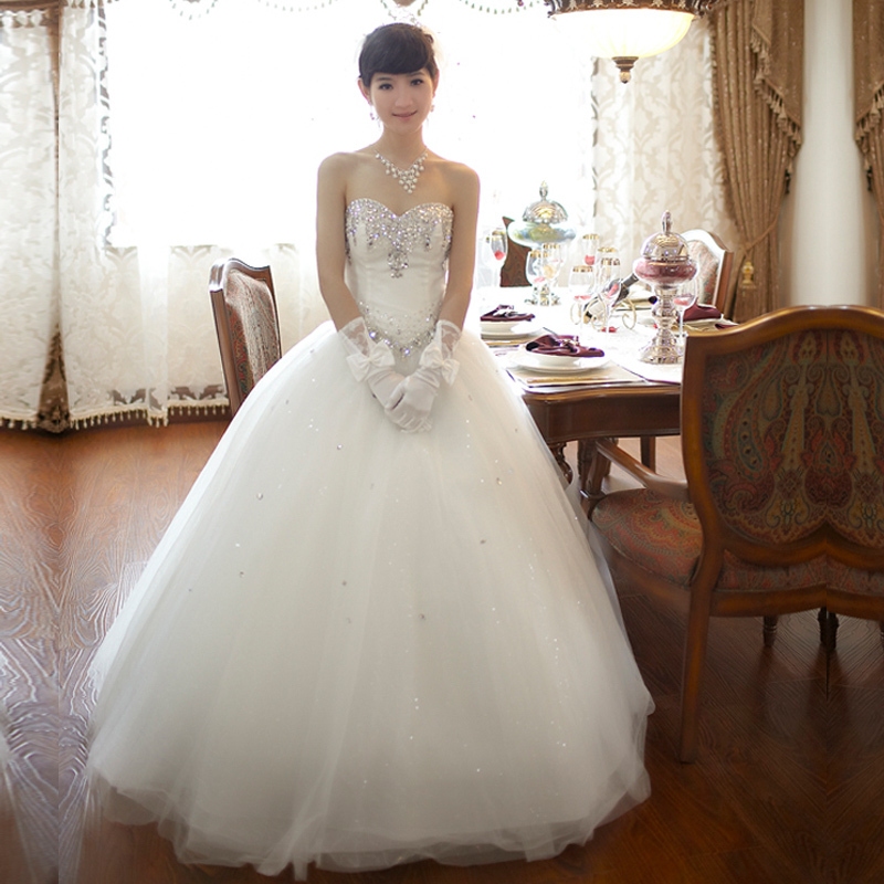 Baoyou 2014 new wedding dress luxury V collar bra straps Korean Rhinestones skirt Qi in wedding