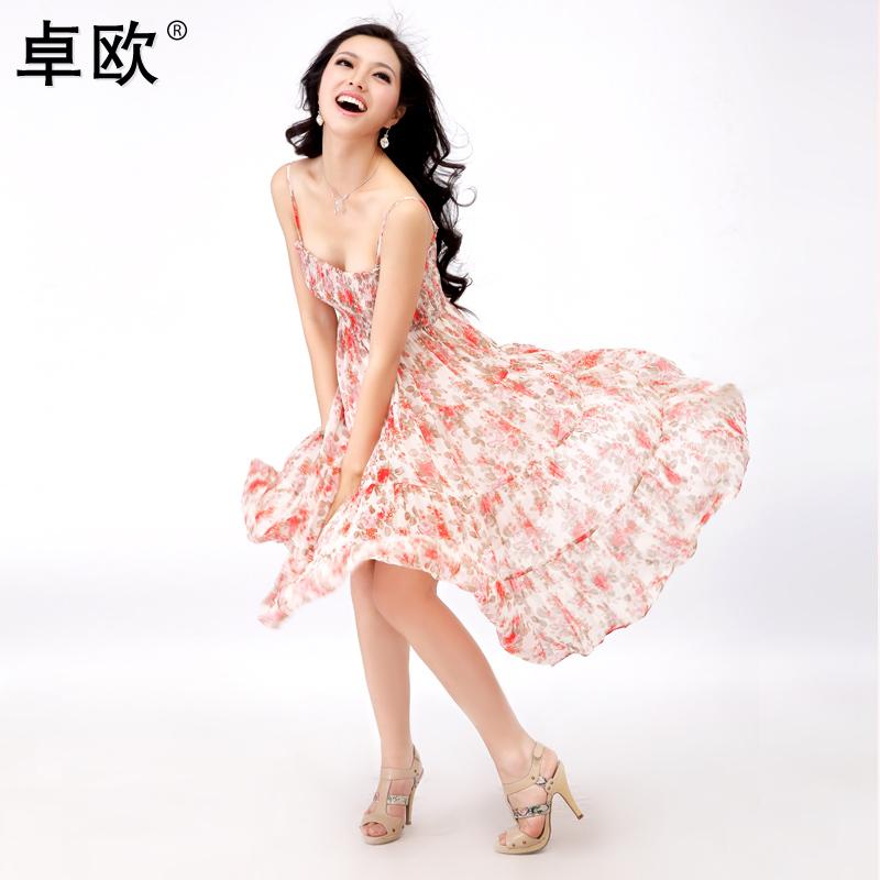 不参加卓欧2012新款碎花长裙子雪纺吊带连衣裙夏季沙滩裙F105002