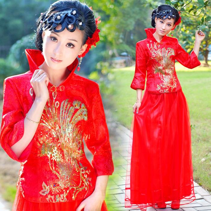 结婚敬酒套装婚宴晚礼服2013新娘红色长袖旗袍婚纱敬酒服S9876