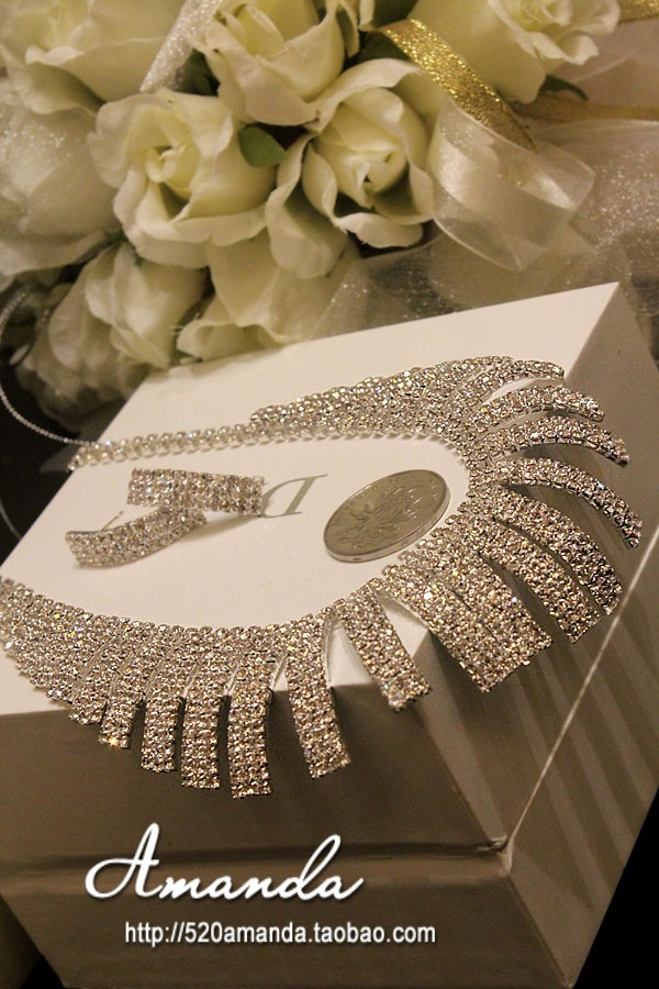 Ожерелье Новый урожай в Европа и Южная Корея Корейский женский полный горный хрусталь невесты ювелирных установить ювелирные изделия ожерелье серьги пакет почты
