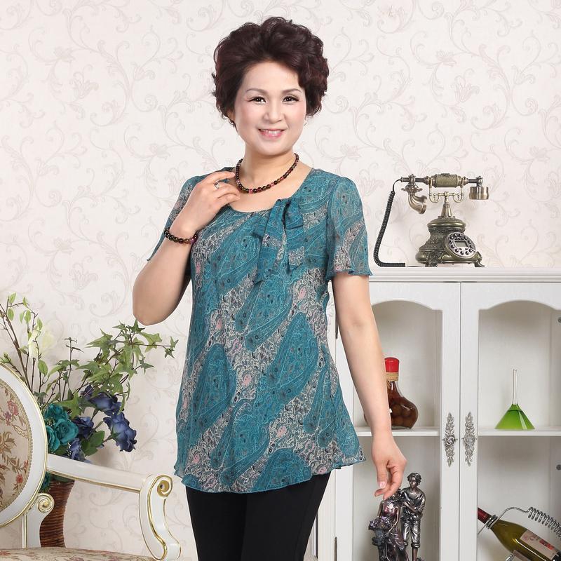 繁瑩中老年100%桑蠶絲女士t恤真絲媽媽裝有大碼夏裝短袖2357圖片