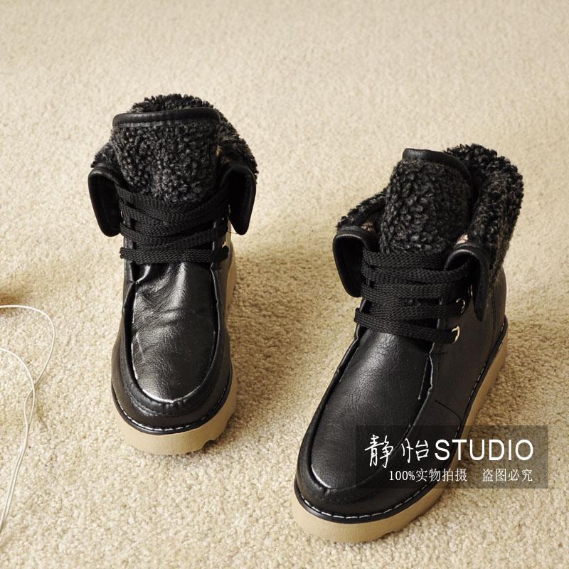 Круглый носок Плоская подошва Шнурок Плоская подошва Клееная обувь Шнуровка, Пряжка Однотонный цвет
