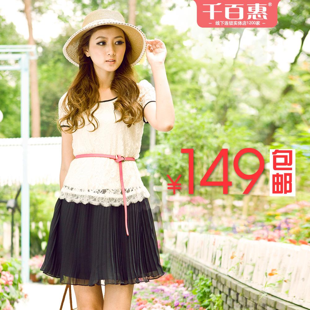 千百惠2012夏季女装新款修身泡泡短袖百褶假两件雪纺蕾丝连衣裙_价格:359元