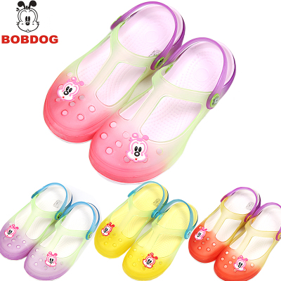 Free shipping authentic bobdog child hole cool girls jelly shoes princess Korean garden beach sandals and slippers
