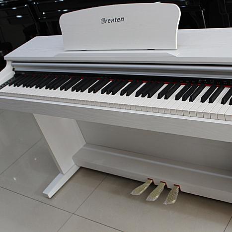 格瑞特白色数码电钢琴dk300/88键带重锤键盘/usb插口/标准三踏板图片