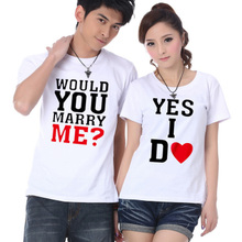 The new couple summer wear short-sleeved t-shirts will you marry me? Personality shirt Letters leisure joker sweethearts outfit