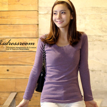 2012 autumn new ladies ' t-shirt woman long sleeves t shirts slim clothes dress Korean end of solid color shirts