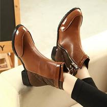 2012新款中跟秋冬时尚拼色软面皮舒适甜美淑女鞋漆皮韩版鞋潮流靴