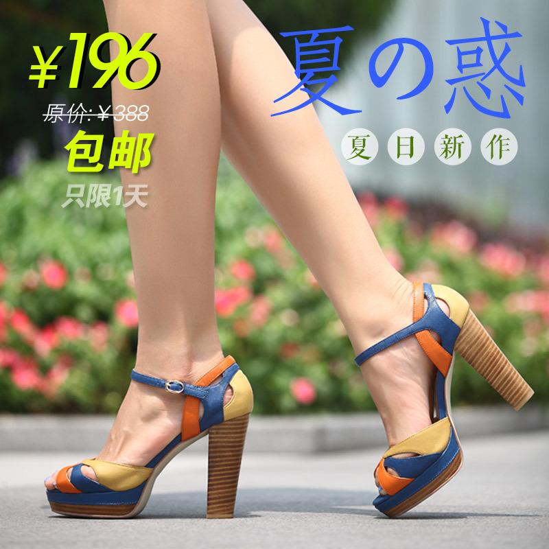 千卓凉鞋2012新品凉鞋女鞋鱼嘴高跟女凉鞋拼色新款女凉鞋伊琳格瑞