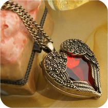 满35包邮 ON0034 复古饰品 多切面宝石红钻桃心翅膀长款项链 27g