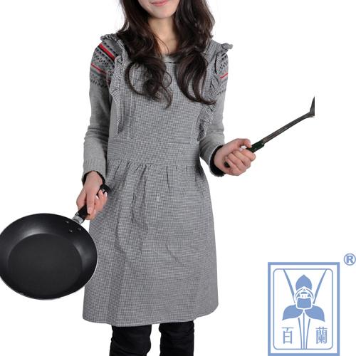 2013新款女装家居围裙黑白经典小格黑色朝阳格厨房餐饮工作服