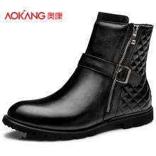 奥康男鞋 韩版潮流行冬季皮靴 男士中筒拉链保暖真皮头层皮皮靴子图片