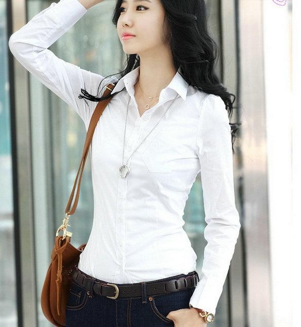2012春装新款女装韩版修身收腰白衬衫衬衣女士长袖女衬衫OL衬衫01